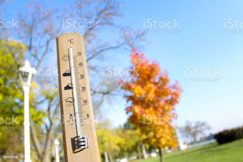 Image Of A Thermometer With Pretty Colors Of Fall In The