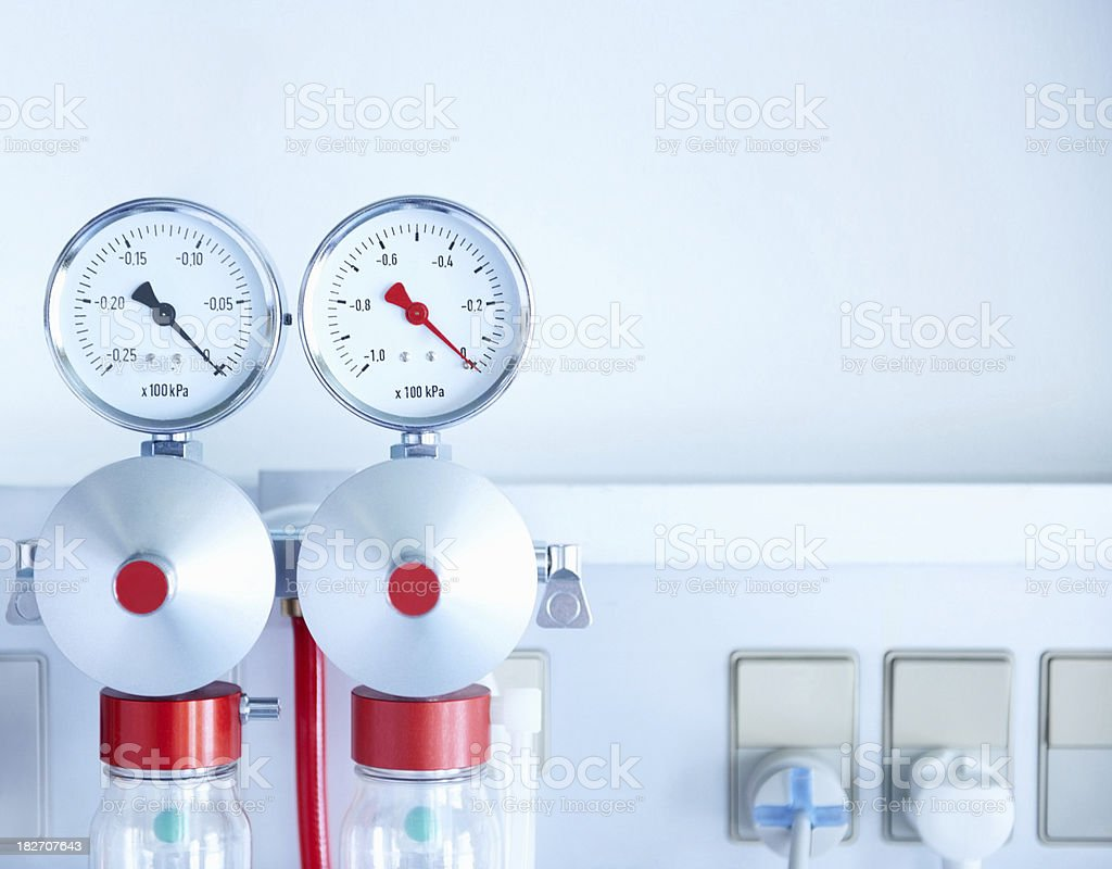 Image of a wall mounted medical oxygen regulator stock photo