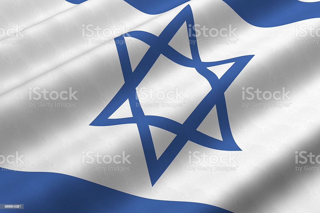 3D image of a waving Israeli flag stock photo