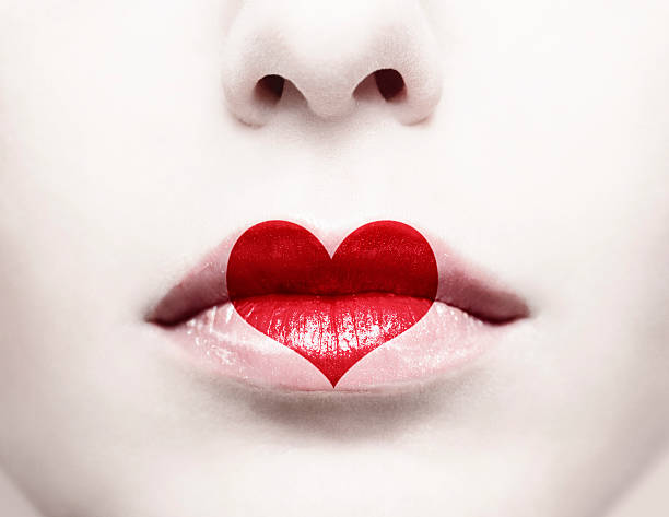 image of a woman's nose and lips with a heart icon on mouth - geisha girl stock photos and pictures