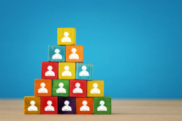 image of a wood blocks pyramid with people icons over wooden table, human resources and management concept. stock photo