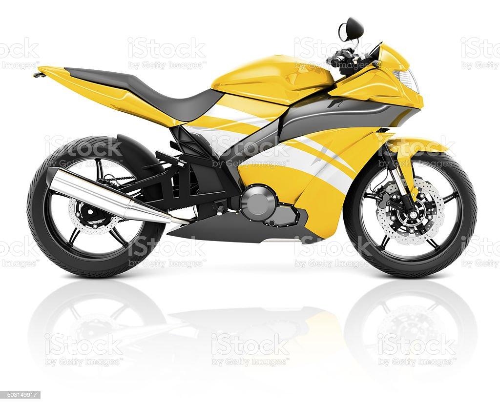 3D Image of a Yellow Modern Motorbike stock photo
