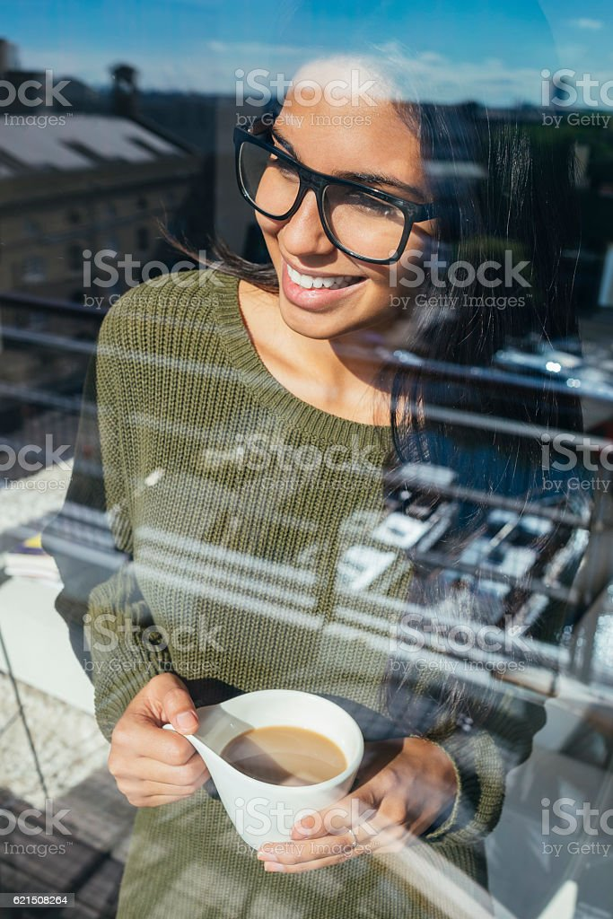 image of a young beautiful woman drinking morning coffee Lizenzfreies stock-foto