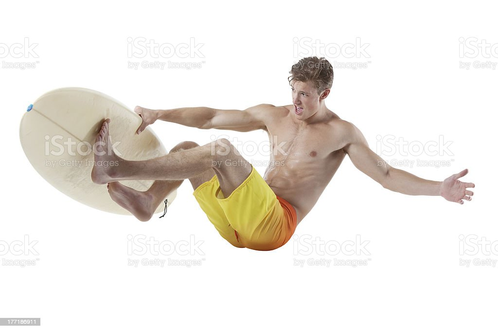 Image of a young surfer in action royalty-free stock photo