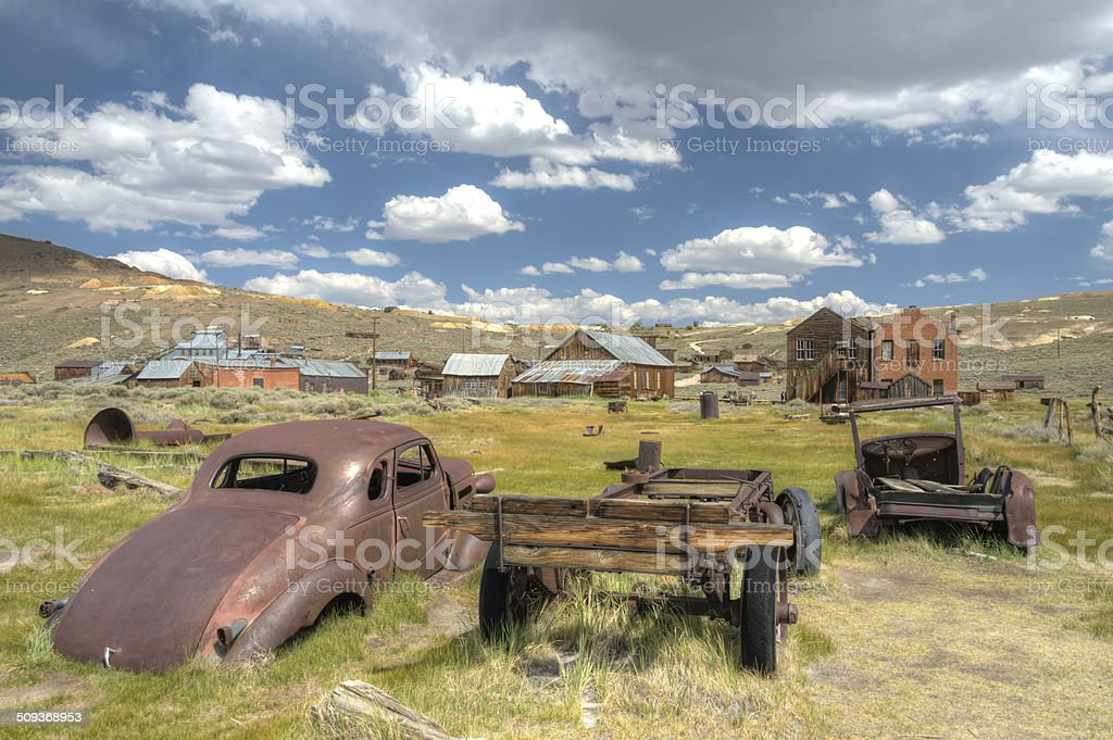 HDR image of abandoned rusty car in Bodie California stock photo