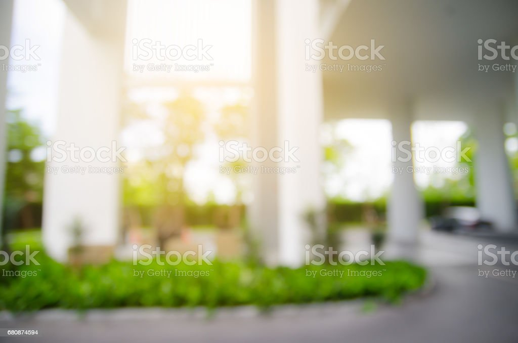 image of Abstract blurred outdoor table and chait in garden on day time for background usage royalty-free stock photo