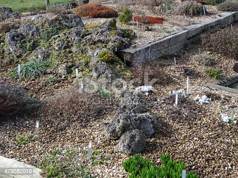 Photo showing an Alpine scree garden that consists of a raised bed made with old railway sleepers, which have been used to create different layers and shapes.  Tufa rocks form a naturalistic rockery, with low-growing Alpine plants providing colour, flowers and interest throughout the year.