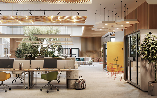 3D image of an environmentally friendly coworking office space. Computer generated image of an open plan office interior.