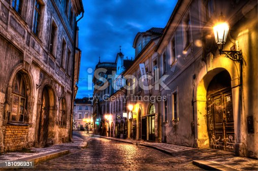 HDR image of an old cobbled street in Prague Europe