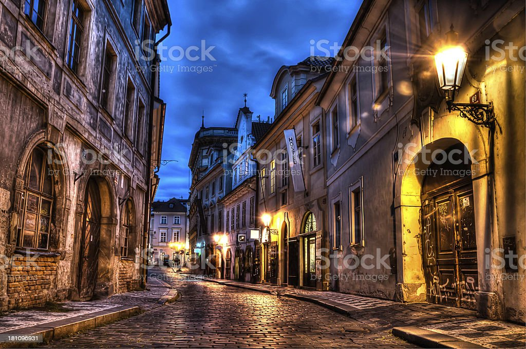 HDR image of an old cobbled street in Prague Europe stock photo