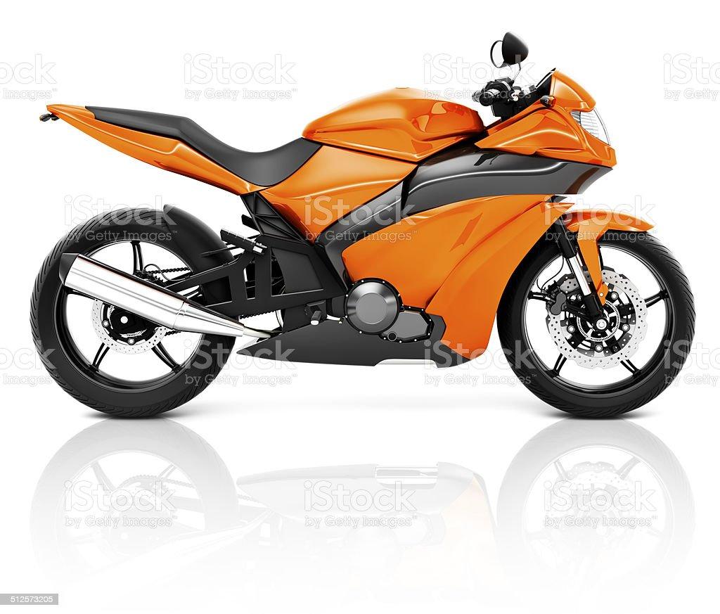 3D Image of an Orange Modern Motorbike stock photo