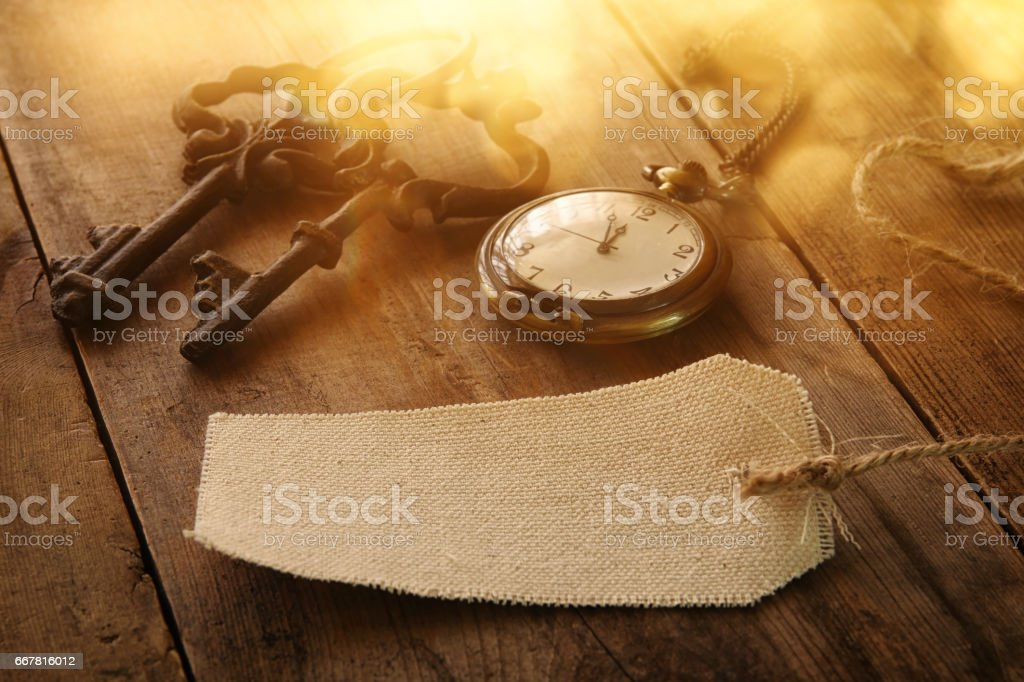 Image Of Antique Keys Empty Canvas Tag And Pocket Clock