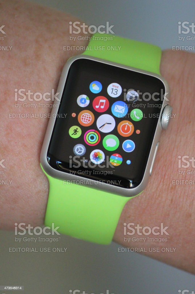 Image of Apple Watch Sport model, apps screen with clock stock photo