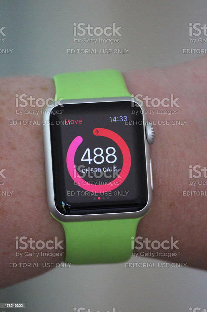 Image of Apple Watch Sport model, calorie counter and target stock photo