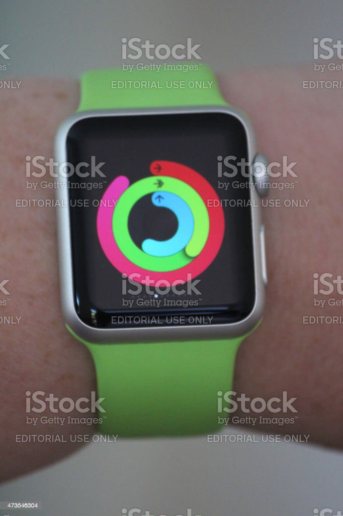 Image of Apple Watch Sport model, exercise and calorie-counter mode stock photo
