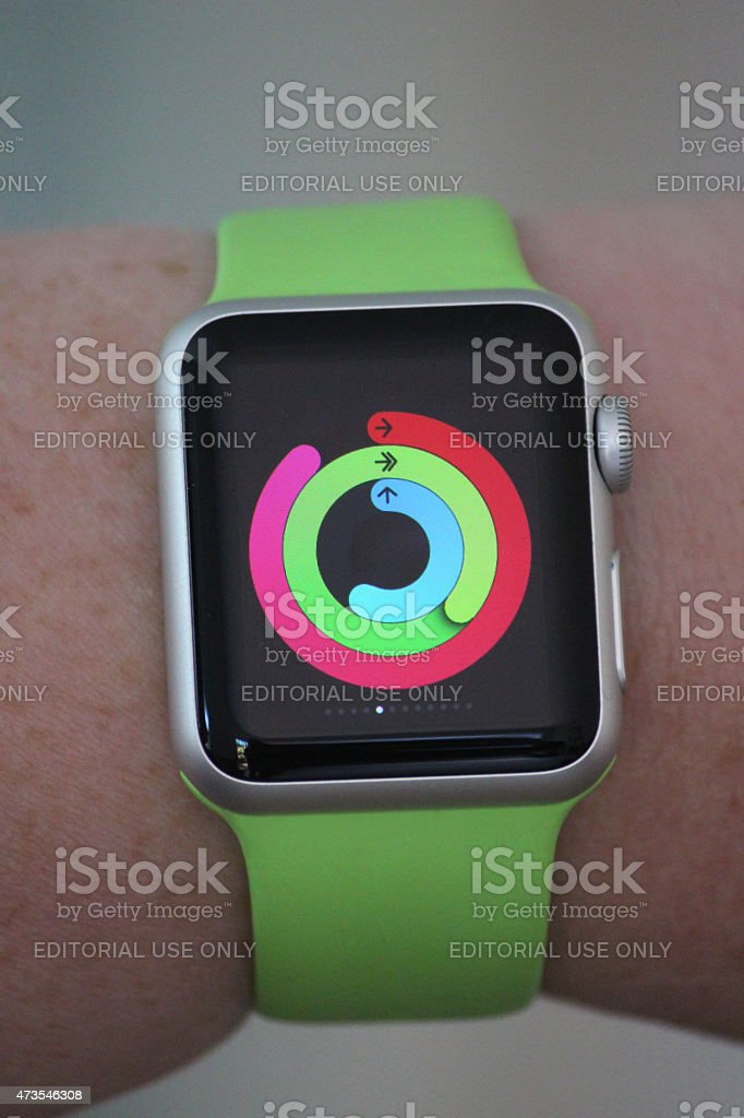 Image of Apple Watch Sport model, green strap, sports mode stock photo