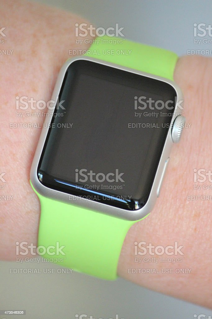 Image of Apple Watch Sport model, lime-green strap, blank watch-face stock photo