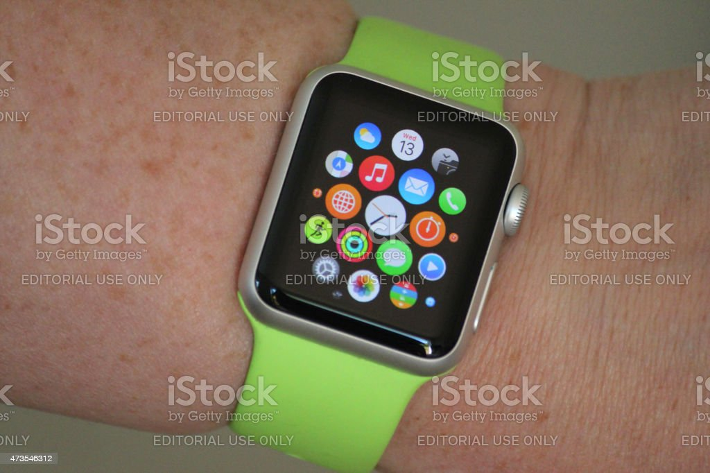 Image of Apple Watch Sport model with apps on screen stock photo