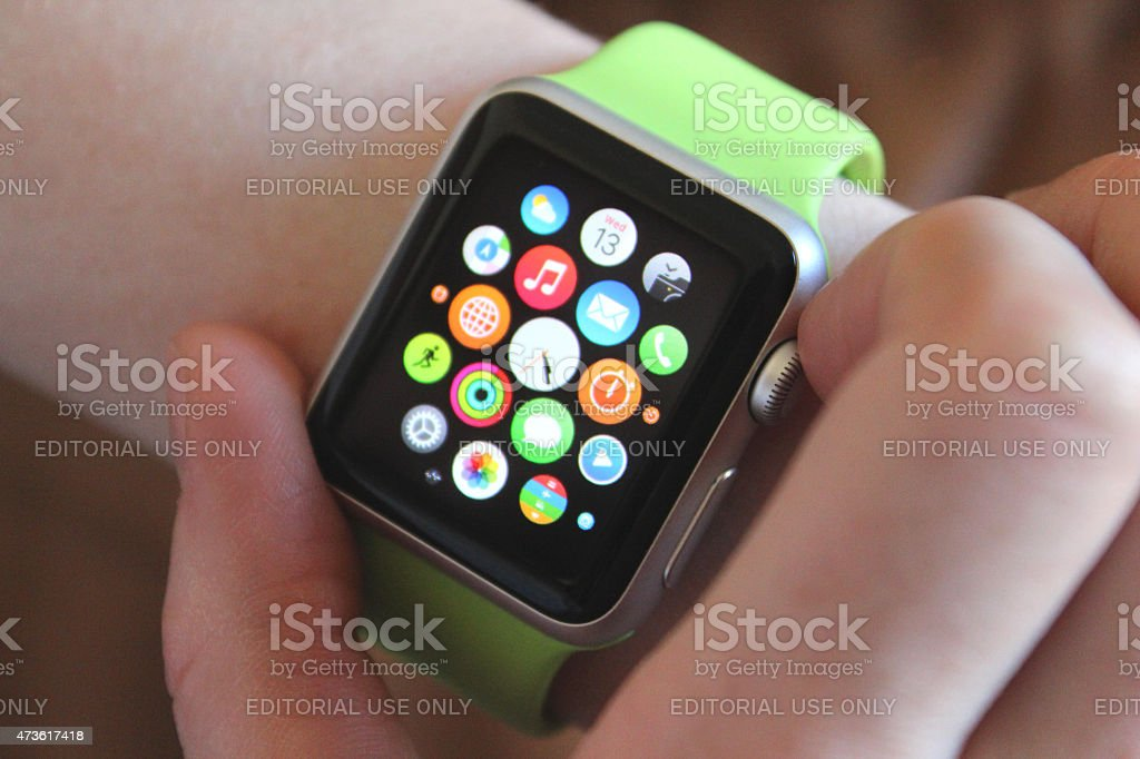 Image of Apps screen on Apple Watch Sport clock face stock photo