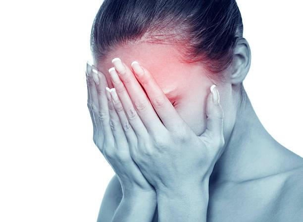 image of attractive woman with migraine - kronisk sjukdom bildbanksfoton och bilder