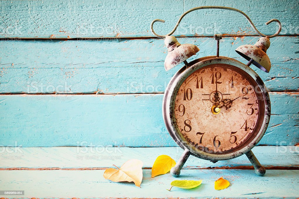 Image of autumn Time Change. Fall back concept. stock photo