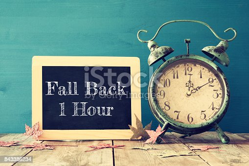 istock Image of autumn Time Change. Fall back concept 843386234