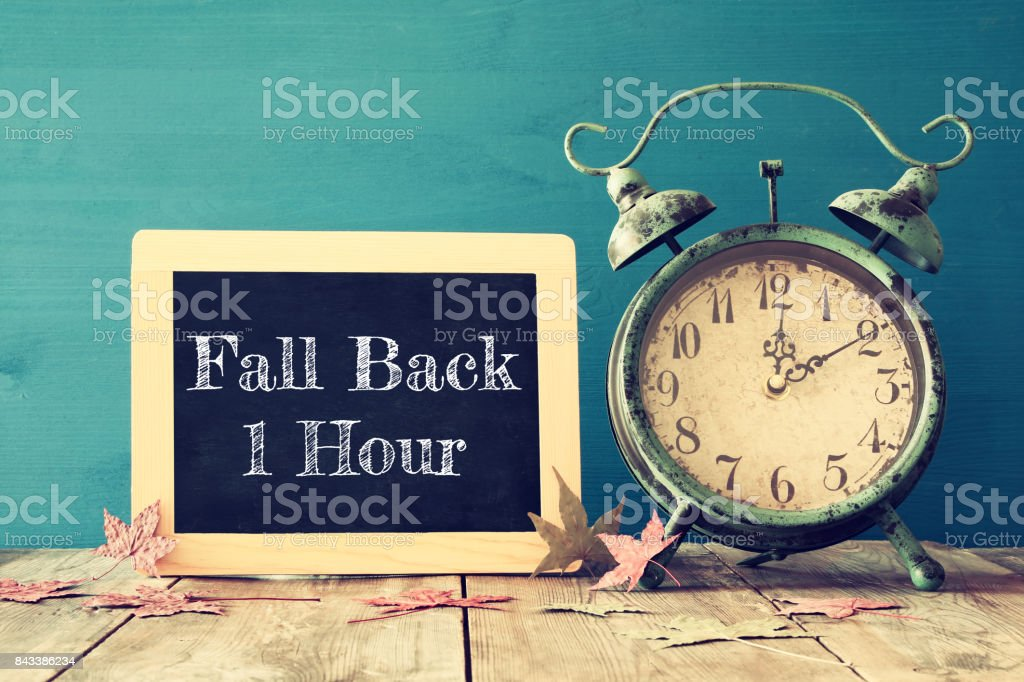 Image of autumn Time Change. Fall back concept stock photo