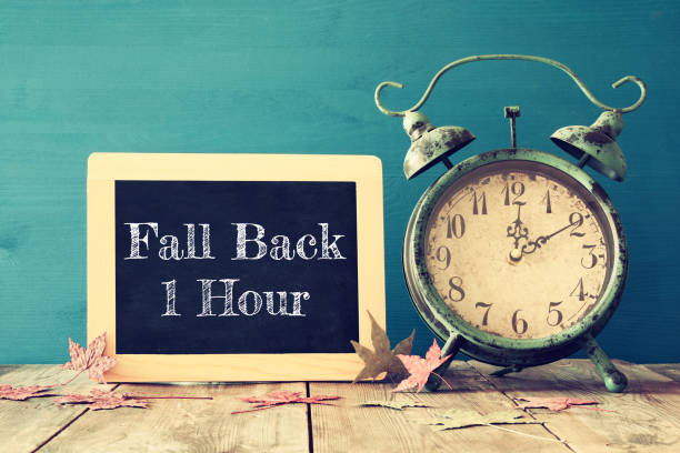 image of autumn time change. fall back concept - back stock pictures, royalty-free photos & images