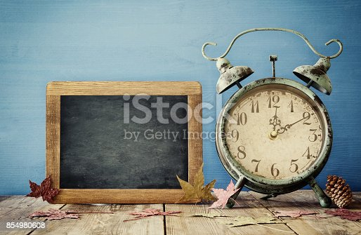 istock Image of autumn Time Change. Fall back concept 854980608