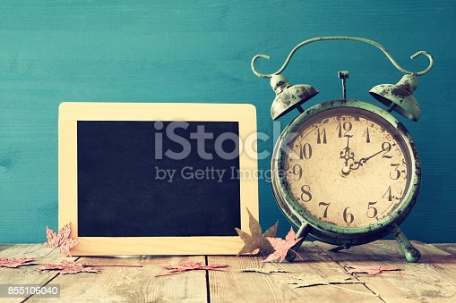 istock Image of autumn Time Change. Fall back concept 855106040