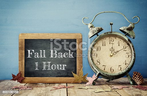 istock Image of autumn Time Change. Fall back concept 855106166