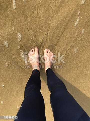 174919648 istock photo Image of barefoot man with two white feet standing paddling in sea waves on beach, splashing as tide goes out, barefoot feet sink in wet sinking sand causing footprints, sea water droplets and getting wet leggings water splash, sandy sea with foam froth 1158996323