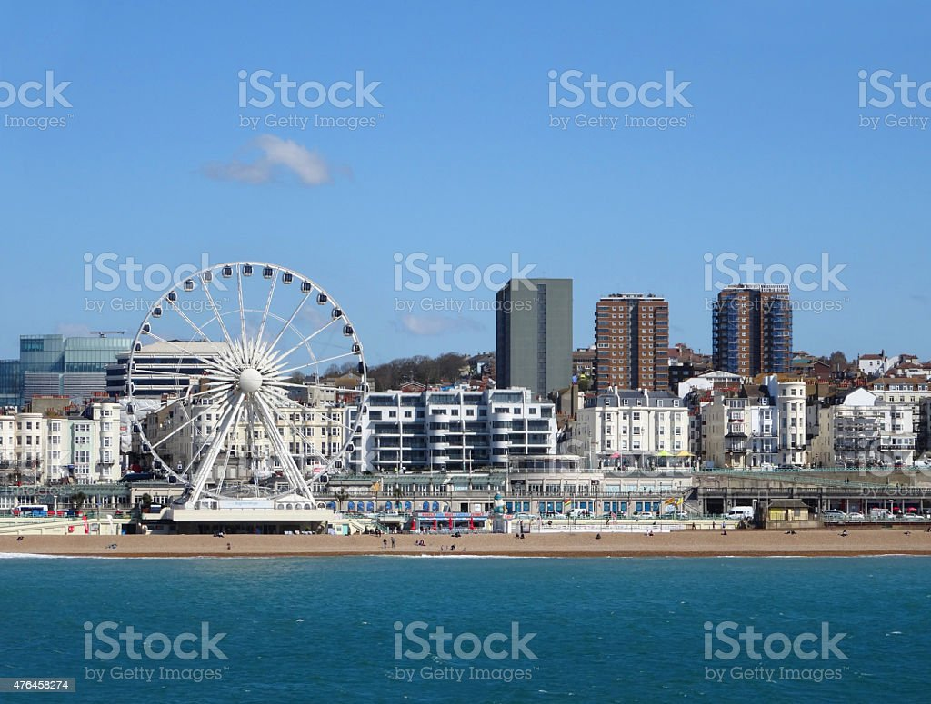 Image of beach, sea, big-wheel, seaside skyline of Brighton stock photo