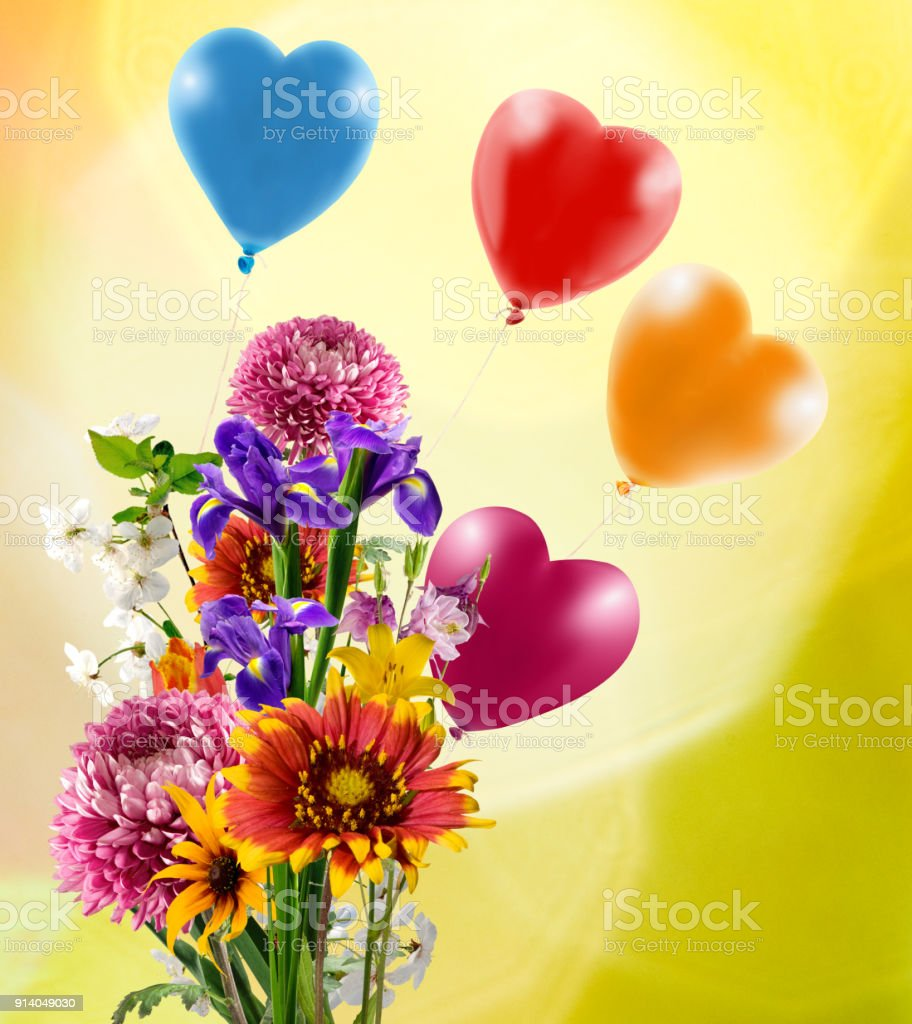 Image Of Beautiful Flowers And Colorful Balloons On Yellow