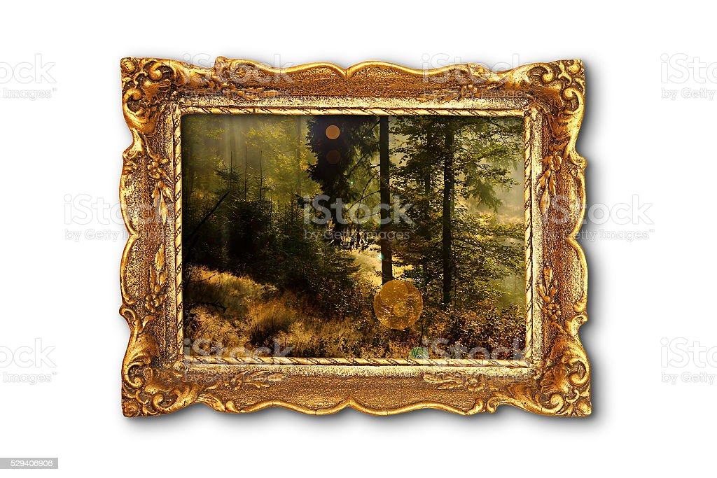 image of beautiful forest in wooden painting frame stock photo