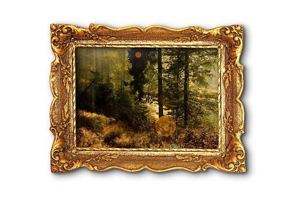 bild von schönen wald in hölzernen gemälde rahmen - schöne bilderrahmen stock-fotos und bilder