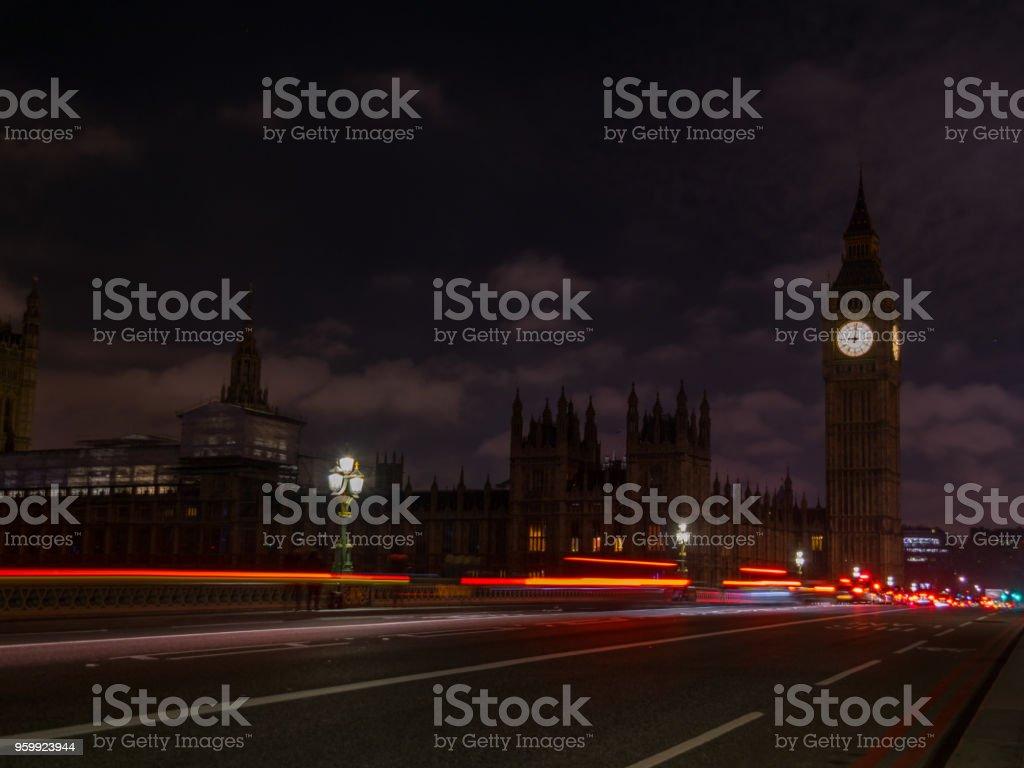 Image Of Big Ben Westminster Bridge Night Trail, Shot at London stock photo