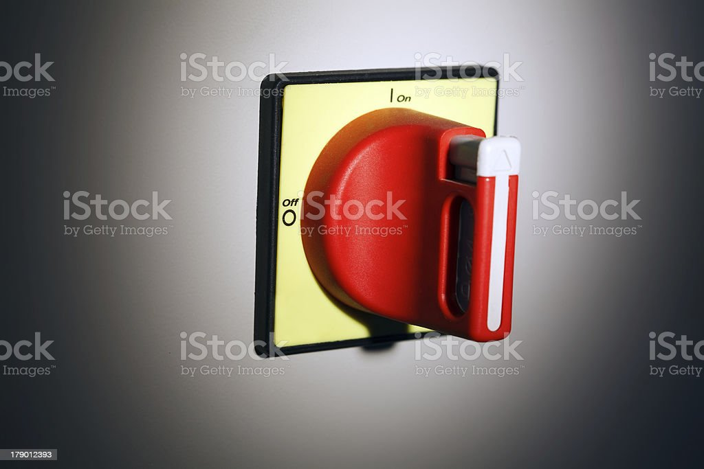 Image of big red switch, close-up royalty-free stock photo