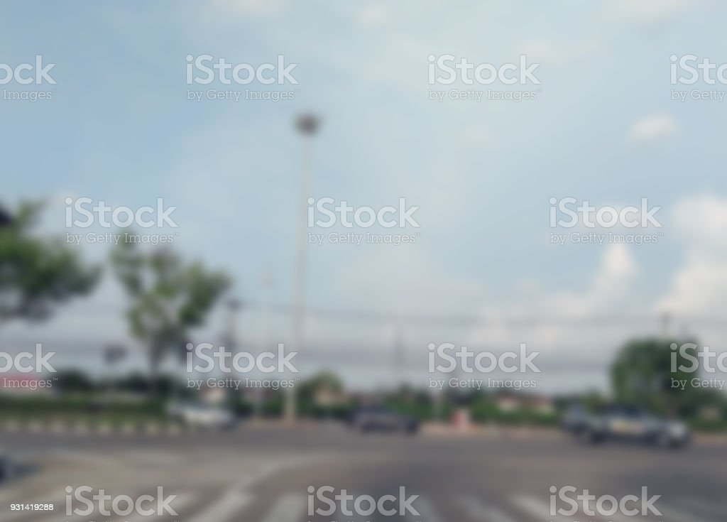 image of blur car on road for background usage. stock photo