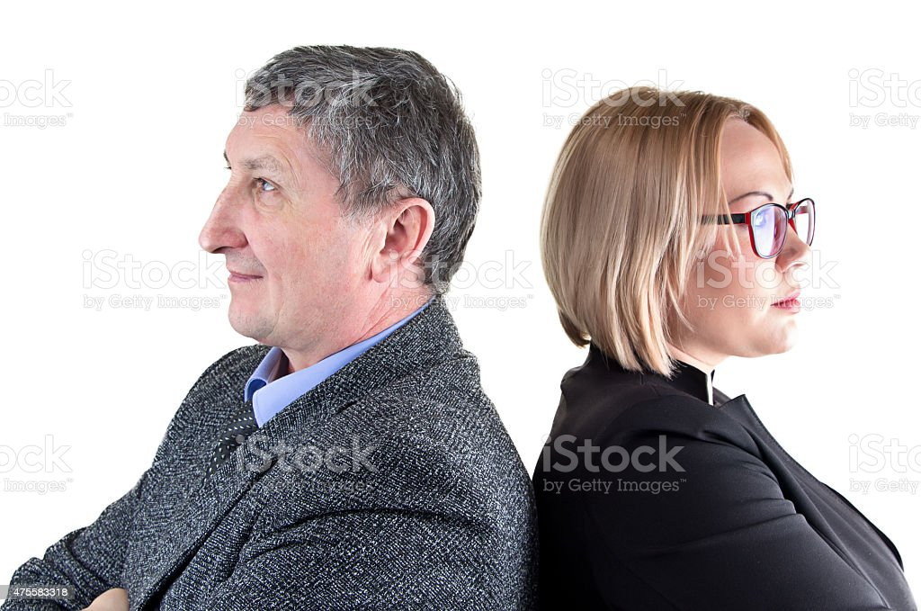 Image of business people, back-to-back stock photo