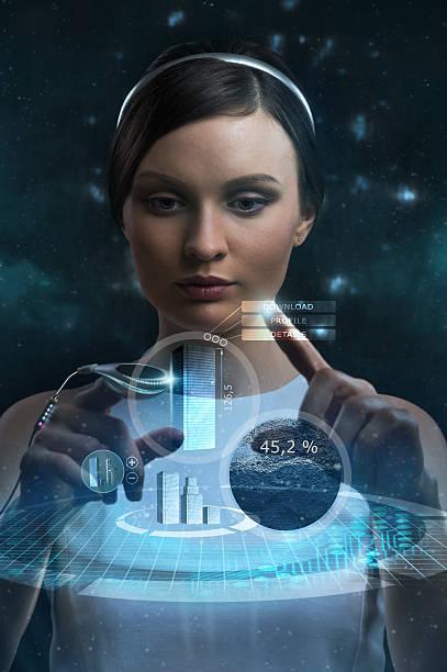 bild von geschäftsfrau der künftigen arbeit mit multimedia-bildschirm - leiterdisplay stock-fotos und bilder