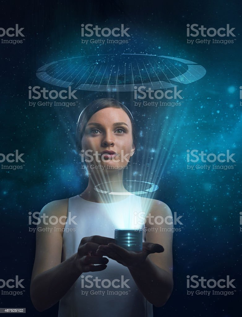 Image of businesswoman of the future working with media screen stock photo