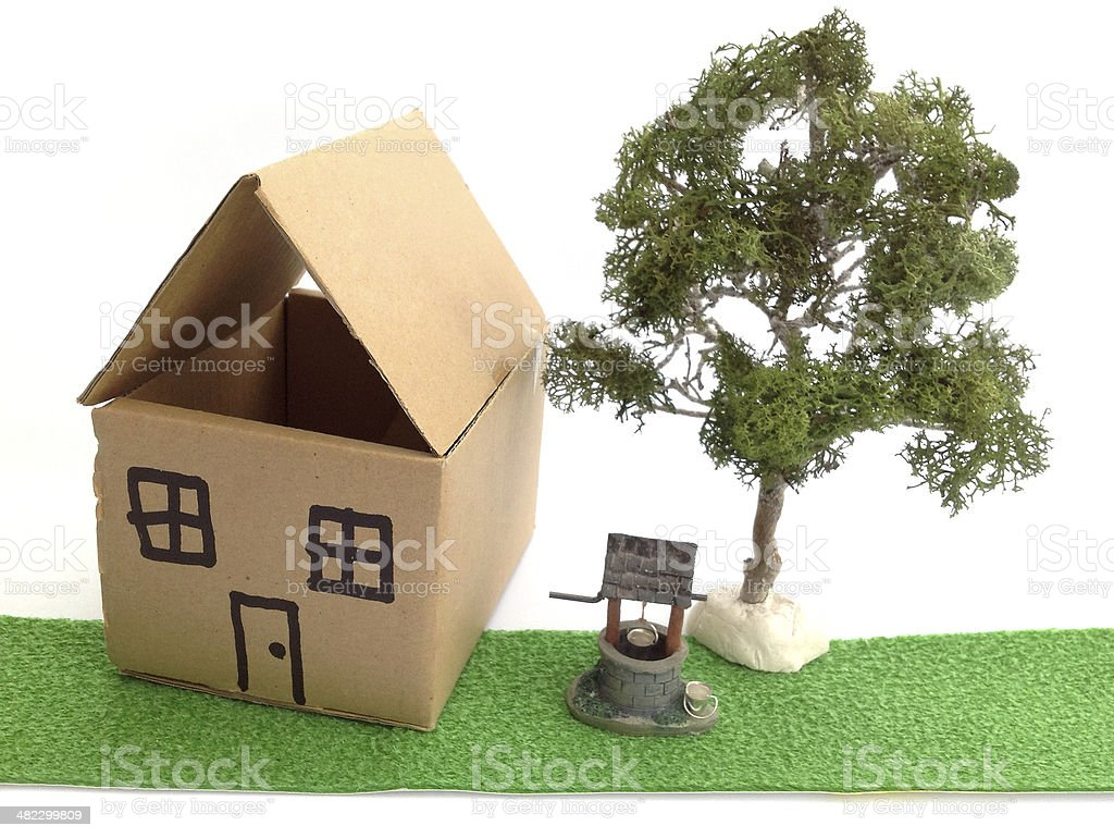 Image Of Cardboard Dolls House Model Wishing Well And Tree