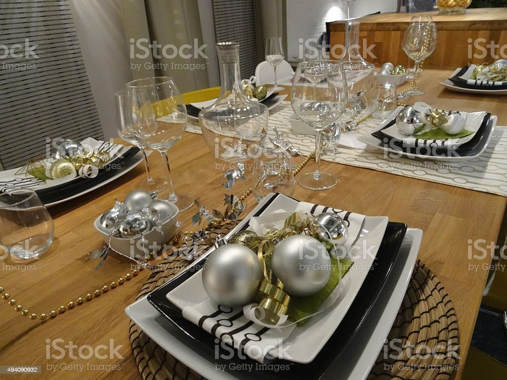 Image Of Christmas Dining Table Placemats / Place Settings, Baubles And  Decorations Royalty