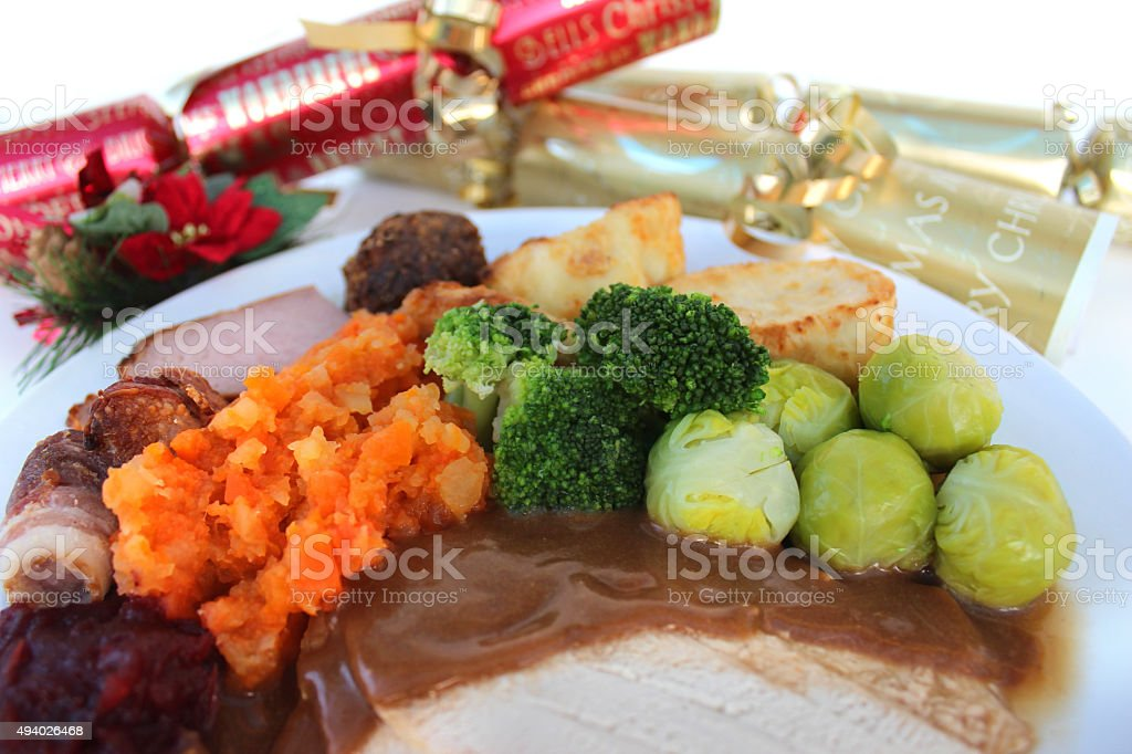 Image of Christmas dinner plate carrots swede sprouts turkey crackers royalty & Image Of Christmas Dinner Plate Carrots Swede Sprouts Turkey ...