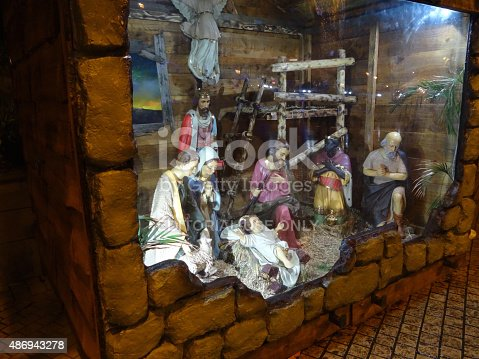 istock Image of Christmas nativity scene with religious statues / figures, baby-Jesus 486943278