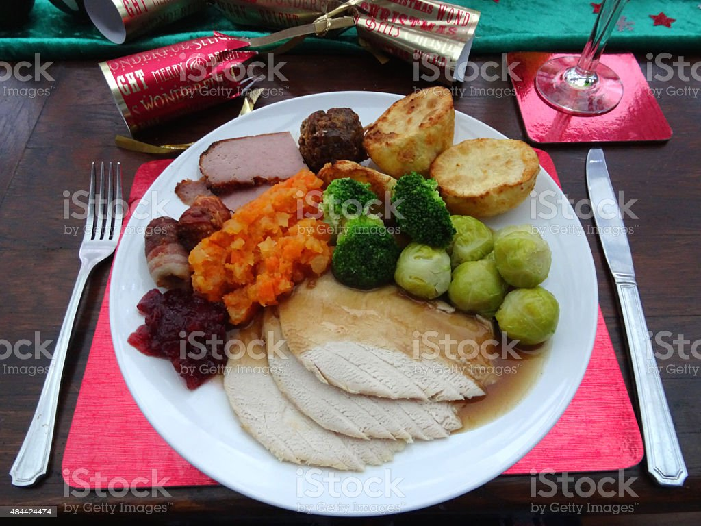 Image of Christmas-dinner setting with plate of food turkey gravy royalty- & Image Of Christmasdinner Setting With Plate Of Food Turkey Gravy ...