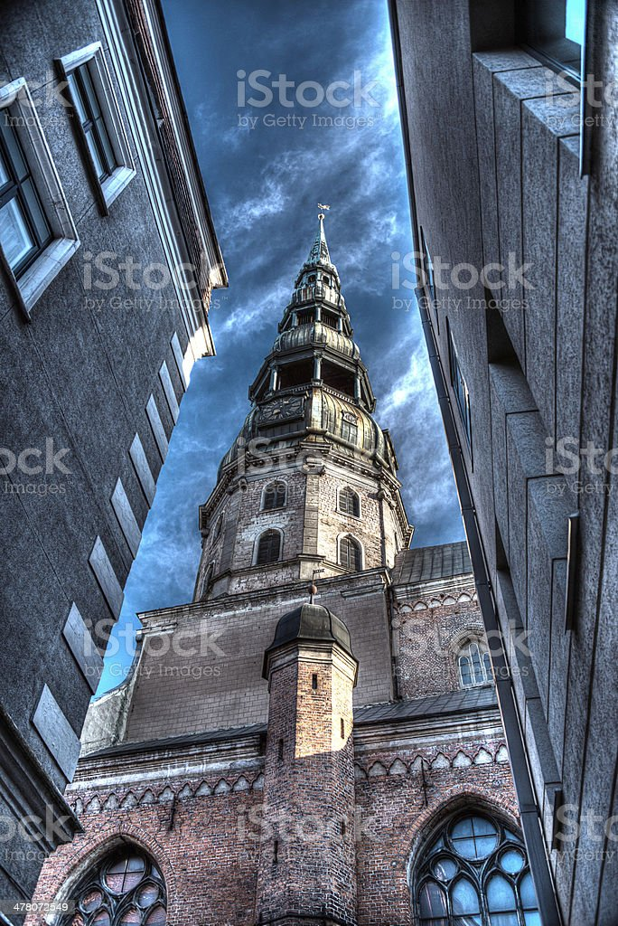 HDR Image of church spire in Riga Latvia royalty-free stock photo
