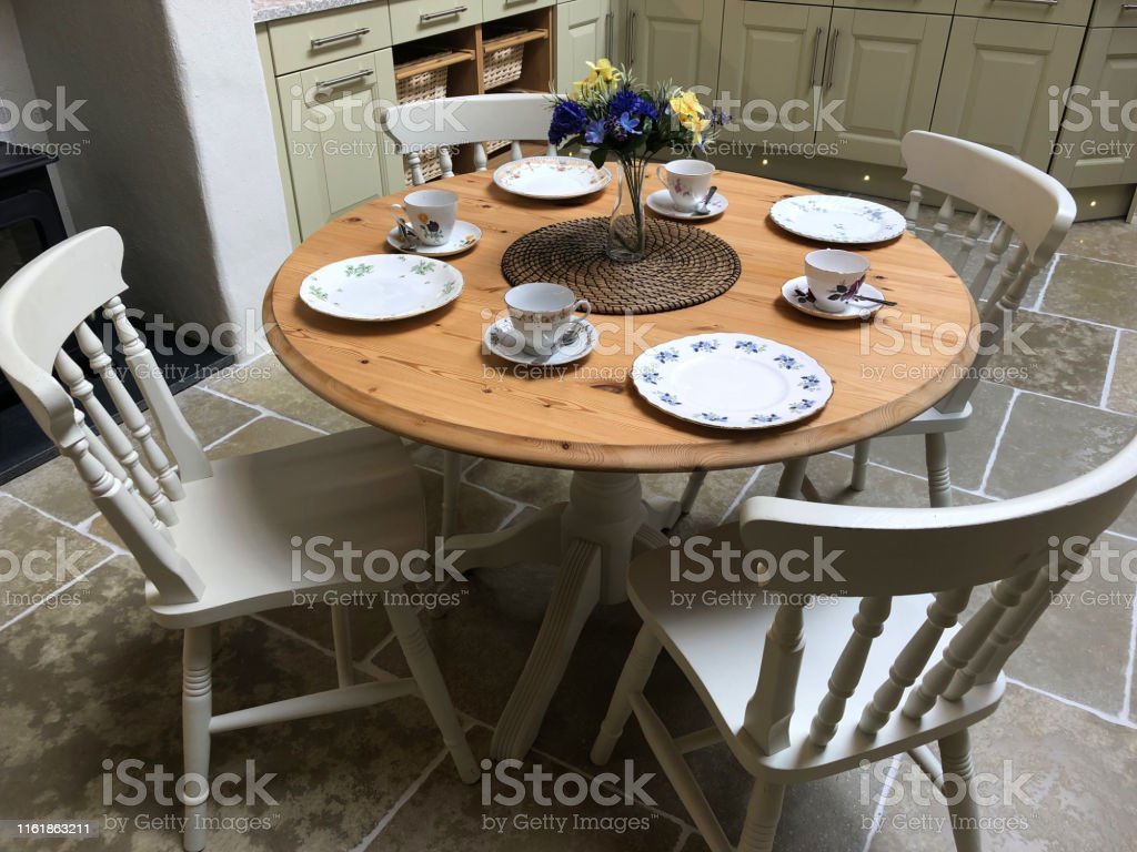 Image Of Circular Round Pine Dining Kitchen Table With Four Chairs ...