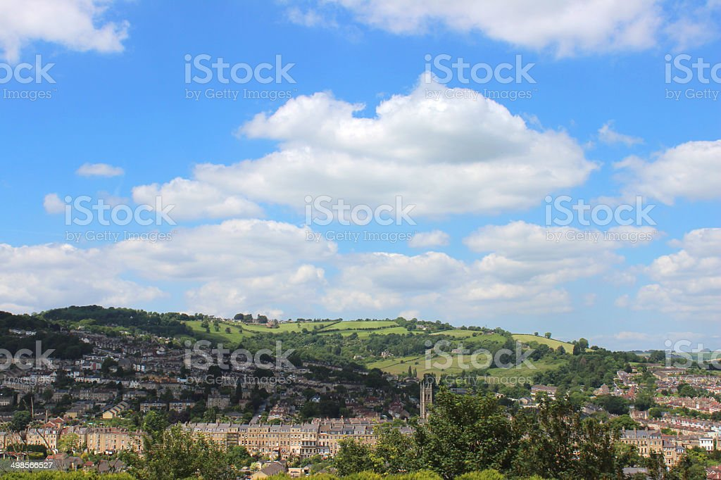 Image of cityscape of Bath city, Somerset, England, countryside views stock photo